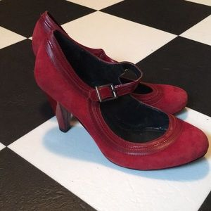 Red suede & patent leather Mary Jane strap heels